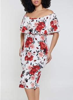 Plus Size Floral Ruffled Off the Shoulder Dress | Ivory - 1930015997081
