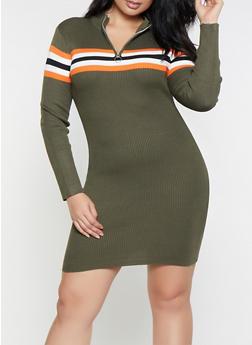 Plus Size Striped Detail Sweater Dress - 1930015997150