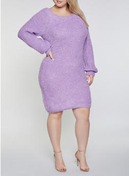 Plus Size Feathered Knit Sweater Dress - 1930015997200