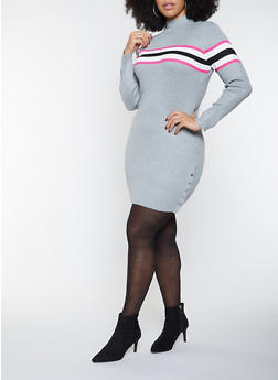 Plus Size Striped Detail Sweater Dress - 1930015997222