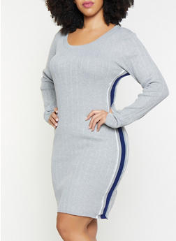 Plus Size Striped Tape Sweater Dress - 1930015997310