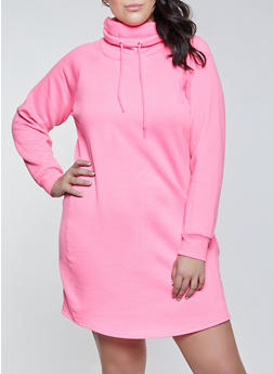 Plus Size Funnel Neck Sweatshirt Dress - 1930015997615