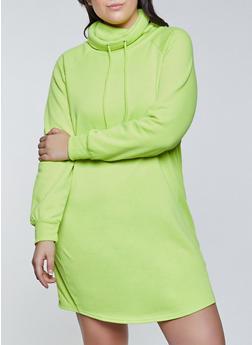 Plus Size Funnel Neck Sweatshirt Dress - 1930015997615