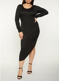 Plus Size Ruched Asymmetrical Dress - 1930015997623