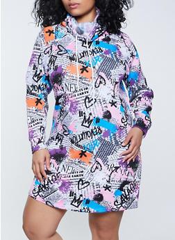 Plus Size Newspaper Print Sweatshirt Dress - 1930015997749