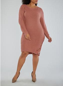 Plus Size Distressed Sweater Dress - 1930015997970