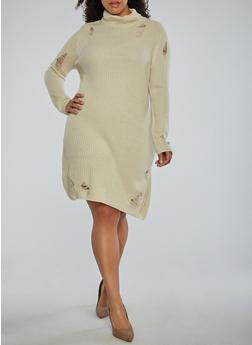 Plus Size Distressed Turtleneck Sweater Dress - 1930015998190