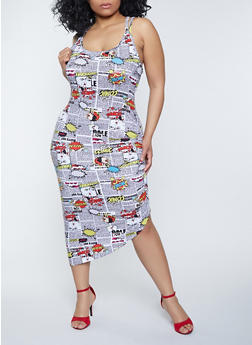 Plus Size Comic Print Ruched Bodycon Dress - 1930015998472