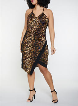 Plus Size Leopard Print Faux Wrap Dress - 1930015998705