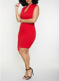 Plus Size Open Back Sheath Dress - 1930015999009