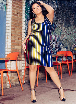 Plus Size Multi Color Striped Tank Dress - 1930015999170