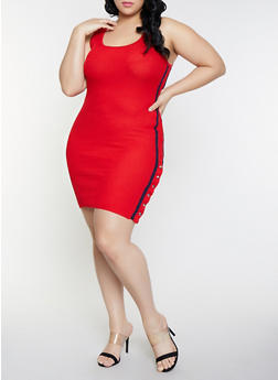 Plus Size Sleeveless Flyaway Ribbed Knit Dress - 1930015999180