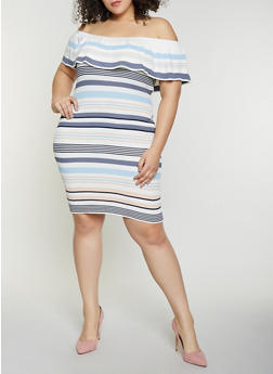 Plus Size Striped Off the Shoulder Rib Knit Dress - 1930015999281