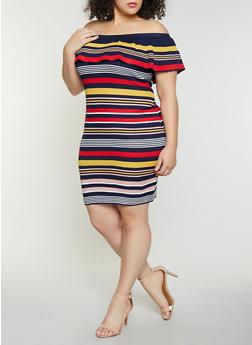 Plus Size Striped Off the Shoulder Rib Knit Dress - 1930015999281