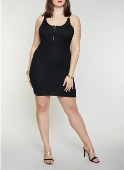 Plus Size Sleeveless Zip Neck Rib Knit Dress - 1930015999520