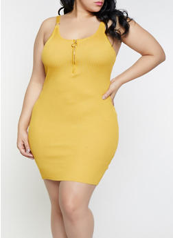 Plus Size Sleeveless Zip Neck Rib Knit Dress - 1930015999520