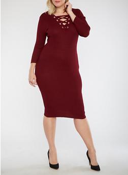 Plus Size Double Lace Up Bodycon Dress - 1930015999712