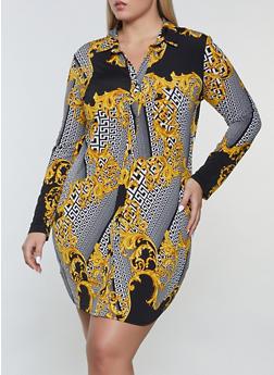 Plus Size Printed Shirt Dress - 1930054211044
