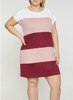 Plus Size Striped Shift Dress - 1930054211959