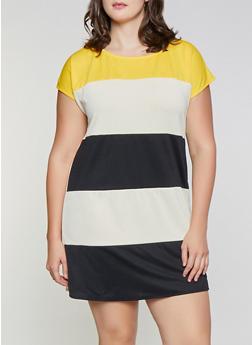 Plus Size Striped Shift Dress - 1930054211959