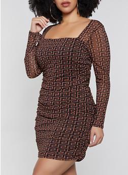 Plus Size Geometric Print Mesh Bodycon Dress - 1930054212314