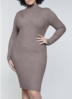 Plus Size Ribbed Lettuce Edge Sweater Dress - 1930054212811