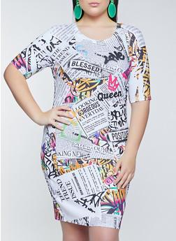 Plus Size Graffiti Newspaper Print T Shirt Dress - 1930061359250