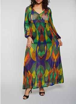 Plus Size Printed Mesh Maxi Dress - 1930062121789