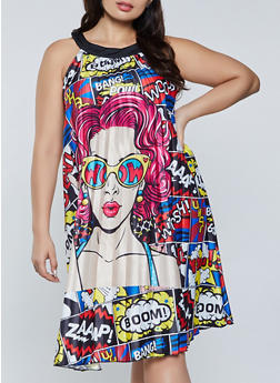 Plus Size Pop Art Pleated Dress - 1930062124222