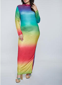 Plus Size Mock Neck Tie Dye Maxi Dress - 1930062127703