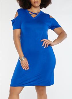 Plus Size Caged Cold Shoulder Dress - 1930062701021