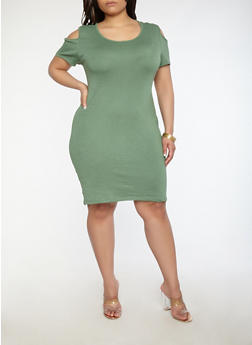Plus Size Cold Shoulder Ribbed Knit Dress - 1930062701024