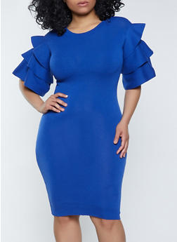 Plus Size Tiered Sleeve Sweater Dress - 1930062702710