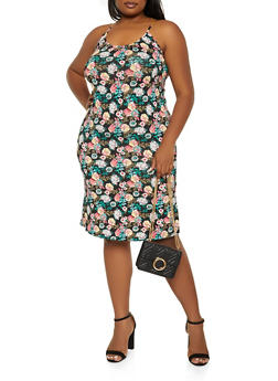 Plus Size Printed Chain Strap Cami Dress - 1930062703274