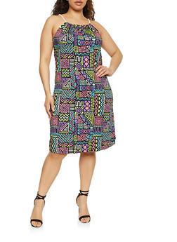 Plus Size Printed Keyhole Back Cami Dress - 1930062703275