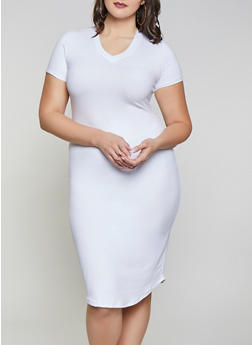 Plus Size V Neck T Shirt Dress - 1930062707123