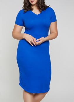 efdd8e90f4 Plus Size V Neck T Shirt Dress - 1930062707123