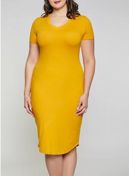 Plus Size V Neck T Shirt Dress - 1930062707123