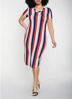 Plus Size V Neck T Shirt Dress - 1930062707124