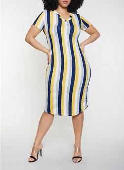 Plus Size V Neck T Shirt Dress - 1930062707124