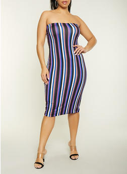 Plus Size Striped Tube Dress - 1930062707125
