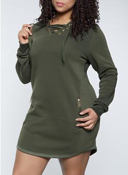 Plus Size Lace Up Sweatshirt Dress - 1930063404787