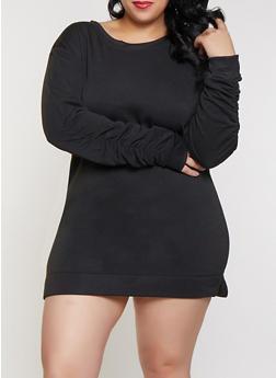 Plus Size Scoop Neck Ruched Sleeve Sweatshirt Dress - 1930063408034