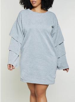 Plus Size Tiered Sleeve Sweatshirt Dress | Heather - 1930063408267