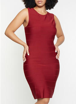Plus Size Sleeveless Bandage Dress - 1930068195389