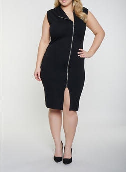 Plus Size Ponte Zip Front Dress - 1930068196061