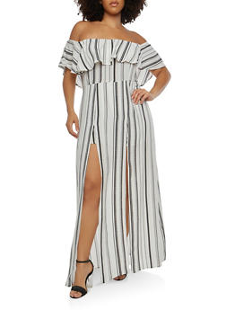 Plus Size Striped Maxi Romper - 1930069390141