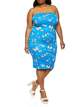 Plus Size Printed Tube Dress - 1930069390194