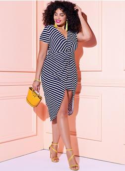 Plus Size Short Sleeve Striped Twist Front Dress - 1930069390489