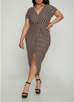 Plus Size Short Sleeve Striped Twist Front Dress - 1930069390489